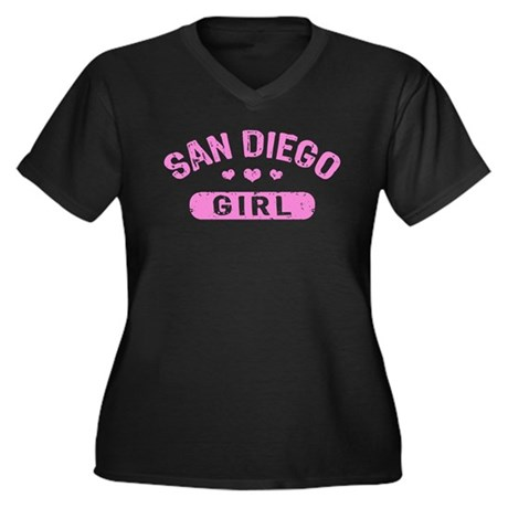 San Diego Girl Women's Plus Size V-Neck Dark T-Shi