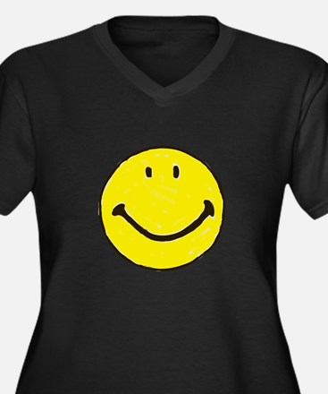 Original Happy Face Women's Plus Size V-Neck Dark