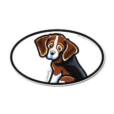 Cute Tri-color Beagle 22x14 Oval Wall Peel