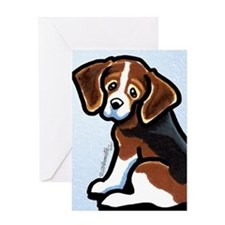 Cute Tri-color Beagle Greeting Card
