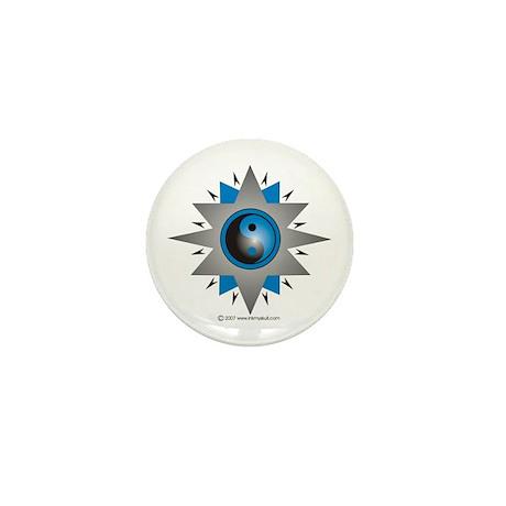 Yin Yang Blue Double Star Mini Button