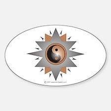 Yin Yang Double Brown Star Sticker (Oval)