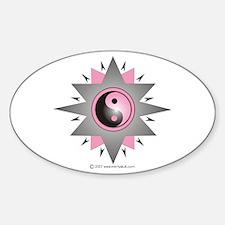 Yin Yang Pink Double Star Sticker (Oval)