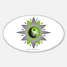 Yin Yang Green Double Star Sticker (Oval)