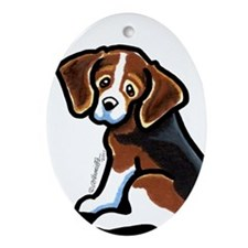 Cute Tri-color Beagle Ornament (Oval)