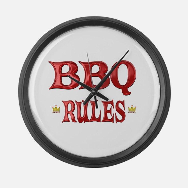 BBQ Rules Large Wall Clock