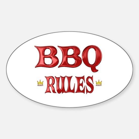 BBQ Rules Sticker (Oval)