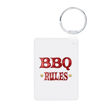 BBQ Rules Aluminum Photo Keychain