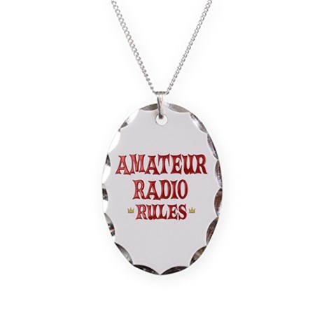 Amateur Radio Rules Necklace Oval Charm