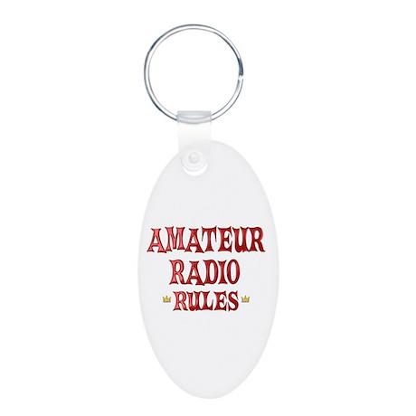 Amateur Radio Rules Aluminum Oval Keychain