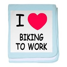 I heart biking to work baby blanket