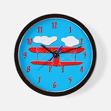 Biplane airplane Wall Clock
