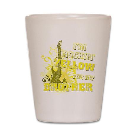 I'm Rockin' Yellow for my Bro Shot Glass
