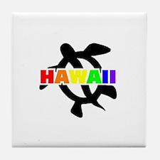 Rainbow Hawaii Turtle Tile Coaster