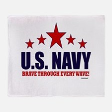 U.S. Navy Brave Through Every Wave Throw Blanket