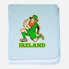 Ireland Leprechaun Rugby baby blanket