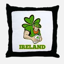 Ireland Leprechaun Rugby Throw Pillow