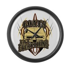 Goats Eat Everything Large Wall Clock