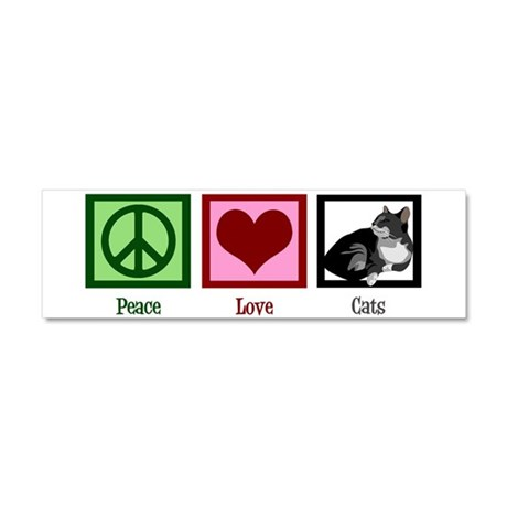 Peace Love Cats Car Magnet 10 x 3