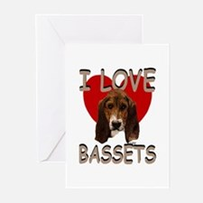 I love Bassets Greeting Cards (Pk of 20)