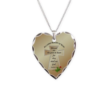 In Loving Memory of Mom Necklace Heart Charm