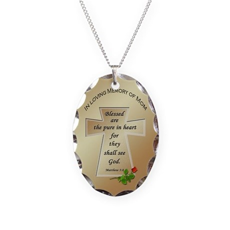 In Loving Memory of Mom Necklace Oval Charm