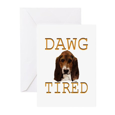 Dawg Tired Basset Greeting Cards (Pk of 20)