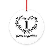1st Anniversary Heart Ornament (Round)