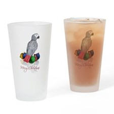 african grey christmas Drinking Glass
