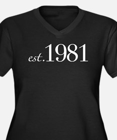Est 1981 (Birth Year) Women's Plus Size V-Neck Dar