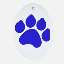 Blue Paw Print Ornament (Oval)