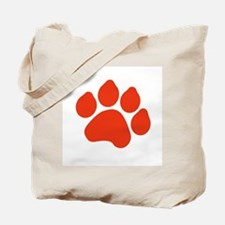 Red Paw Print Tote Bag