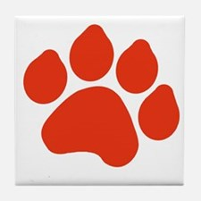 Red Paw Print Tile Coaster