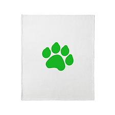 Green Paw Print Throw Blanket