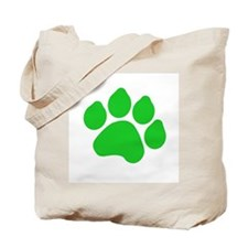 Green Paw Print Tote Bag