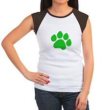 Green Paw Print Women's Cap Sleeve T-Shirt