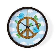 Bluebirds of Peace Wall Clock