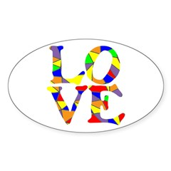LOVE STAINED GLASS WINDOW Sticker (Oval 10 pk)