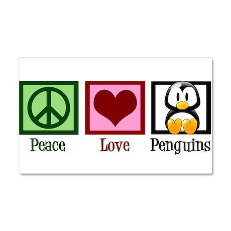 Peace Love Penguins Car Magnet 20 x 12
