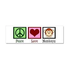 Peace Love Monkeys Car Magnet 10 x 3