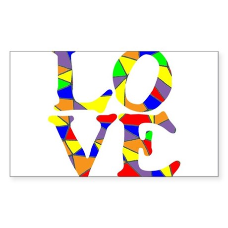 LOVE STAINED GLASS WINDOW Sticker (Rectangle)