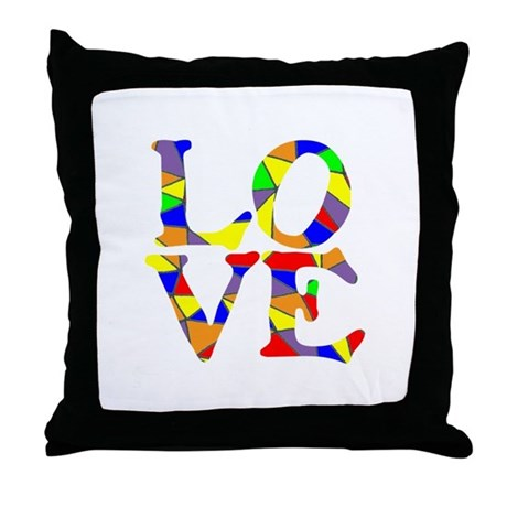 LOVE STAINED GLASS WINDOW Throw Pillow