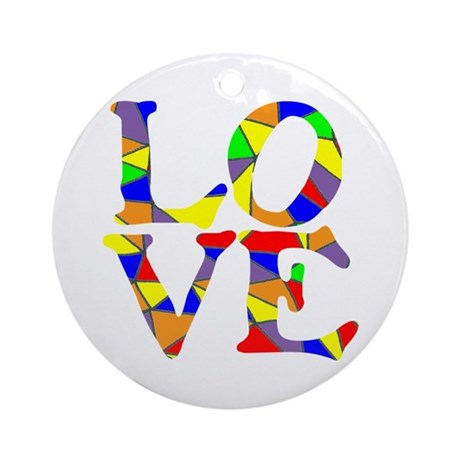 LOVE STAINED GLASS WINDOW Ornament (Round)
