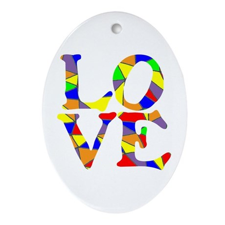 LOVE STAINED GLASS WINDOW Ornament (Oval)