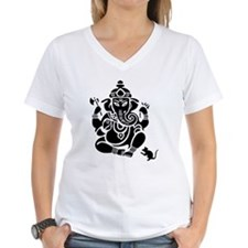 Ganesha Women's V-Neck White T-Shirt