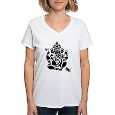 Ganesha Women's V-Neck White T-Shirt
