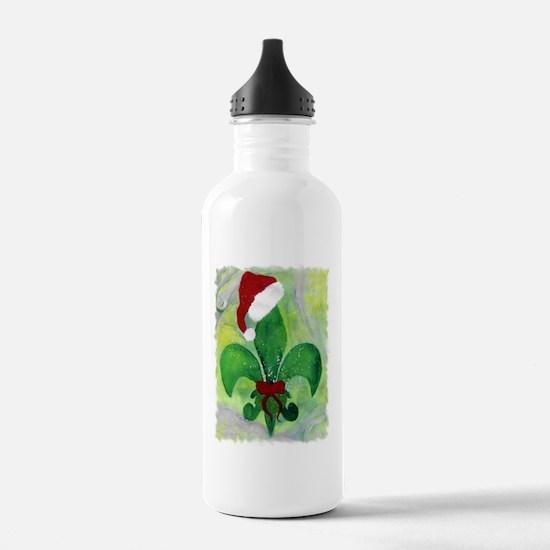 Christmas Fleur de lis Water Bottle