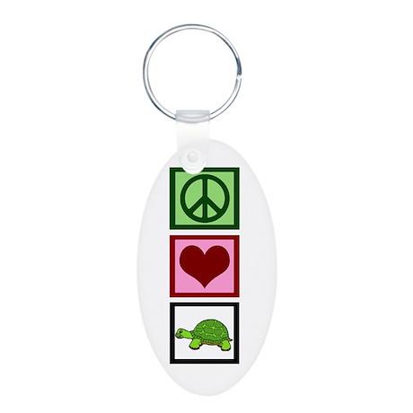 Peace Love Turtles Aluminum Oval Keychain