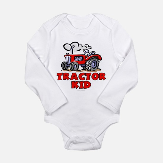 Red Tractor Kid Long Sleeve Infant Bodysuit