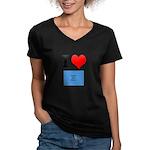 I Heart Photo t-shirt shop Women's V-Neck Dark T-S